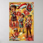 el 4 de julio - niños con el poster de los fuegos
