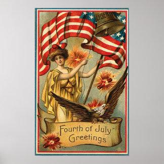 el 4 de julio - poster del arte del vintage