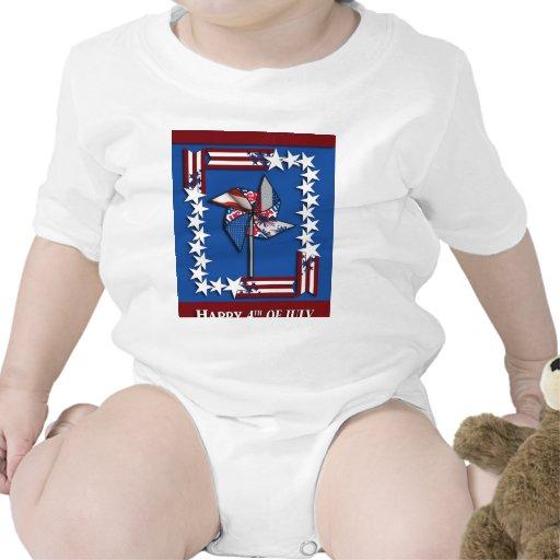 el 4 de julio, rueda patriótica del Pin Camiseta