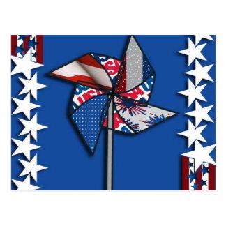 el 4 de julio, rueda patriótica del Pin Tarjetas Postales