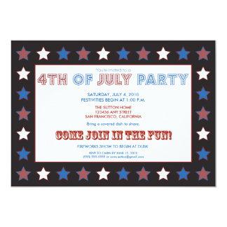 el 4to del fiesta/del Cookout de julio protagoniza Invitación 12,7 X 17,8 Cm