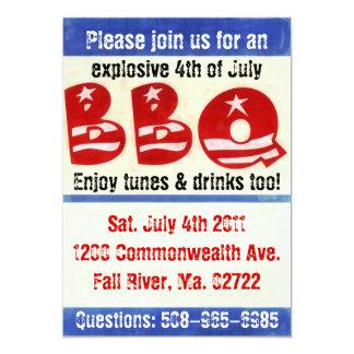 """el 4tos del fiesta del Bbq de julio invitan Invitación 5"""" X 7"""""""