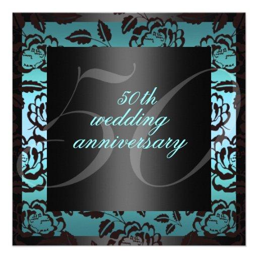 El 50.o aniversario de boda color de rosa negro y  invitación