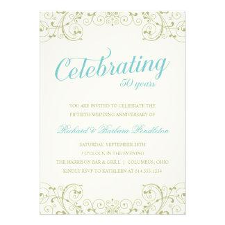 El 50 o aniversario de boda elegante invita