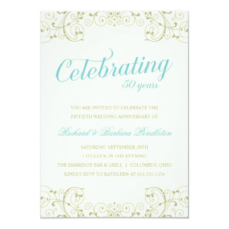 El 50.o aniversario de boda elegante invita invitación 12,7 x 17,8 cm
