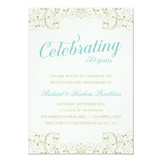 """El 50.o aniversario de boda elegante invita invitación 5"""" x 7"""""""
