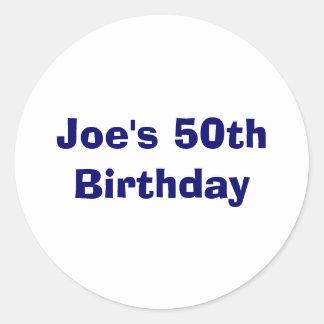 El 50.o cumpleaños de Joe Etiquetas Redondas