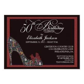 El 50.o cumpleaños del zapato floral sofisticado anuncio personalizado
