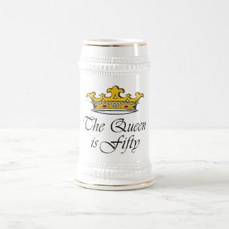 ¡el 50.o cumpleaños la reina es 50! jarra de cerveza