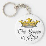 ¡el 50.o cumpleaños la reina es 50! llavero redondo tipo pin