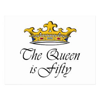 ¡el 50.o cumpleaños la reina es 50! postal
