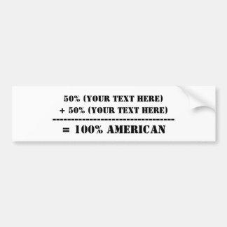El 50% (su texto aquí) pegatina para auto