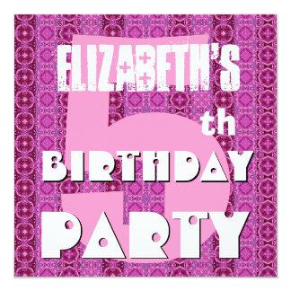 """El 5to cumpleaños del chica moderno 5 años pica invitación 5.25"""" x 5.25"""""""
