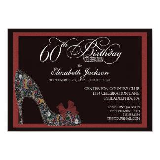 El 60.o cumpleaños del zapato floral sofisticado invitación personalizada
