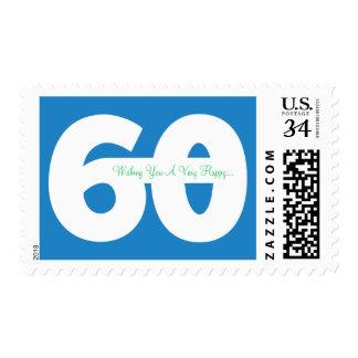 El 60.o cumpleaños feliz del jalón sella - en azul sellos