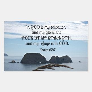 El 62:7 del salmo en dios es mi salvación. pegatina rectangular