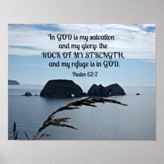 El 62:7 del salmo en dios es mi salvación póster