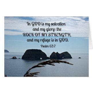 El 62:7 del salmo en dios es mi salvación. tarjeta de felicitación