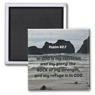 El 62:7 del salmo en dios es mi salvación y mi imán cuadrado