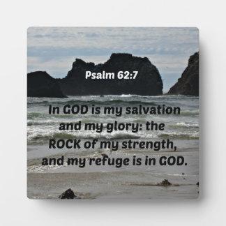 El 62:7 del salmo en dios es mi salvación y mi placas con foto