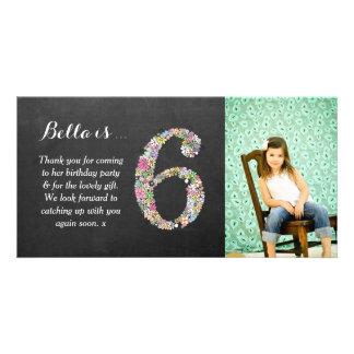 El 6to cumpleaños de los chicas floral le agradece tarjetas fotográficas personalizadas