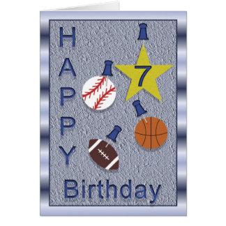 El 7mo cumpleaños feliz se divierte tema tarjeta de felicitación