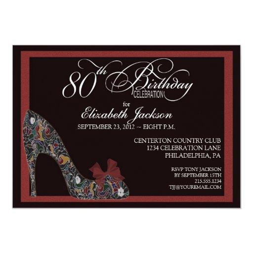 El 80.o cumpleaños del zapato floral sofisticado invitación 12,7 x 17,8 cm
