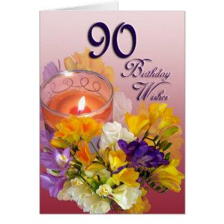 El 90.o cumpleaños de los Freesias desea la Tarjeta De Felicitación