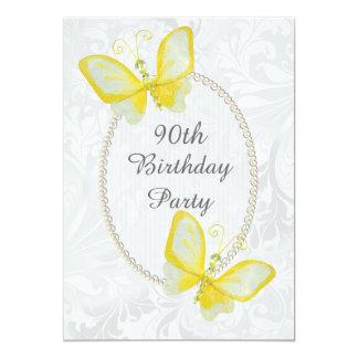 El 90.o doble del cumpleaños del damasco elegante comunicado personal