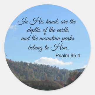 El 95:4 del salmo en sus manos es las pegatina redonda