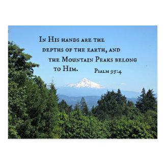 El 95:4 del salmo en sus manos es las tarjeta postal