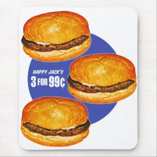 El 99¢ feliz de Jack de las hamburguesas retras de Alfombrilla De Ratones