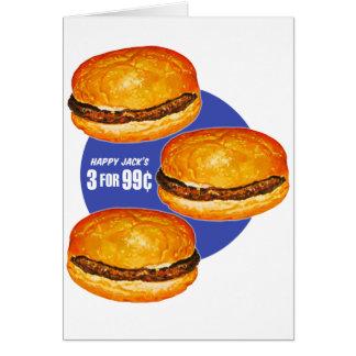El 99¢ feliz de Jack de las hamburguesas retras de Tarjeta De Felicitación