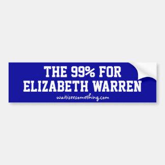 El 99% para Elizabeth Warren Pegatina De Parachoque