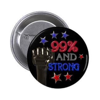 el 99% y botón fuerte del pinback de la protesta