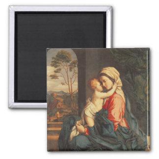 El abarcamiento de la Virgen y del niño Imán Cuadrado