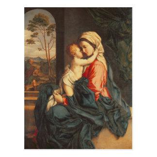 El abarcamiento de la Virgen y del niño Postal