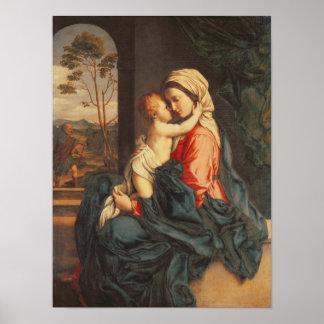 El abarcamiento de la Virgen y del niño Póster