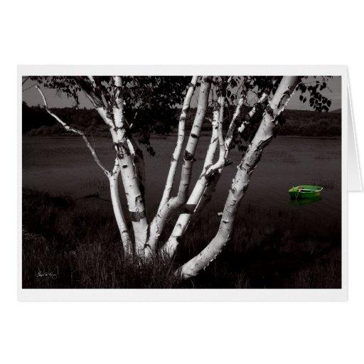 El abedul y el verde sórdidos tarjeta de felicitación