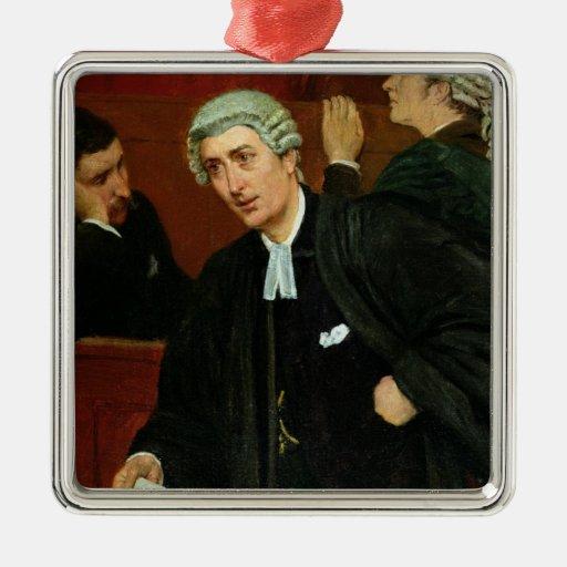 El abogado adorno cuadrado plateado