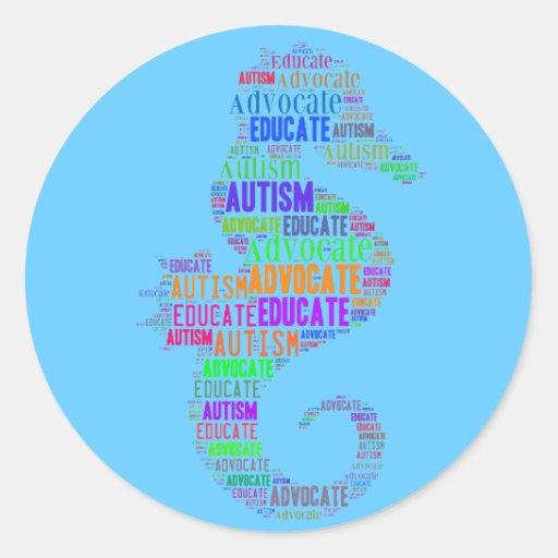 El abogado del autismo y educa a los pegatinas pegatina redonda
