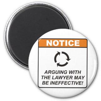 El abogado/discute imán redondo 5 cm