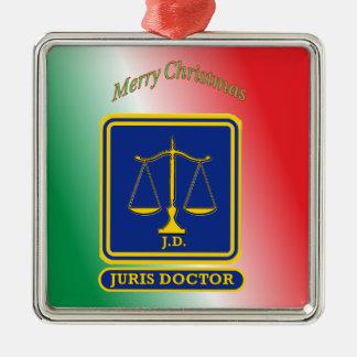 El abogado JD escala el escudo Adorno Navideño Cuadrado De Metal