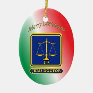 El abogado JD escala el escudo Adorno Navideño Ovalado De Cerámica