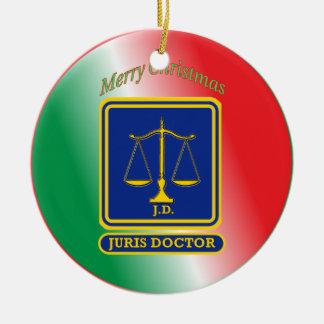 El abogado JD escala el escudo Adorno Navideño Redondo De Cerámica