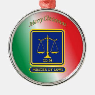 El abogado LL.M escala el escudo Adorno Navideño Redondo De Metal