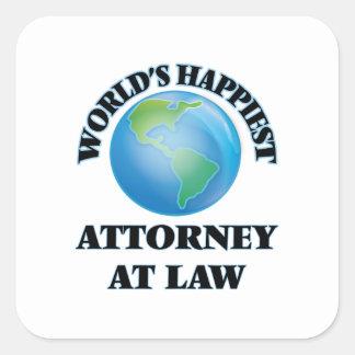 El abogado más feliz en la ley del mundo pegatina cuadrada