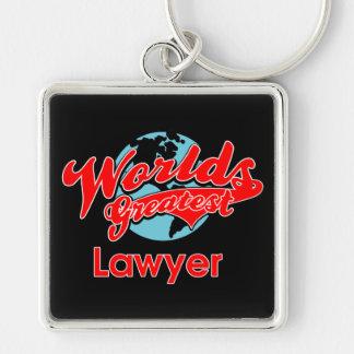 El abogado más grande del mundo llavero cuadrado plateado