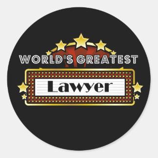 El abogado más grande del mundo pegatina redonda