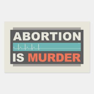 El aborto es asesinato pegatina rectangular